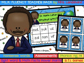 Nonsense Word Fluency Pack by Ms. Lendahand (MLK Theme)