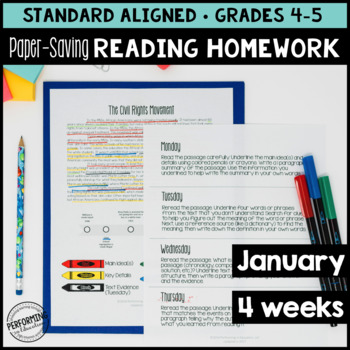 Paper-Saving Reading Homework for 4th & 5th - 4 weeks Martin Luther King Themed