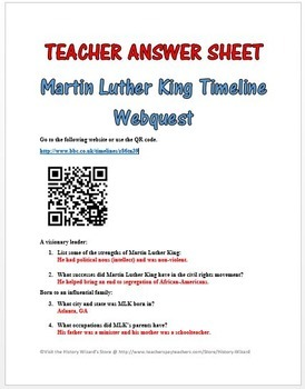 Martin Luther King Timeline Webquest By History Wizard Tpt