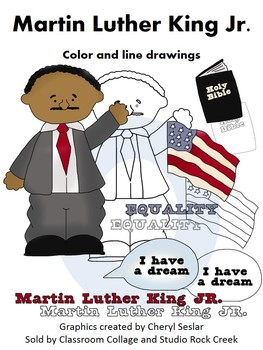 Martin Luther King US History Color and Line Drawings Clip Art  C. Seslar
