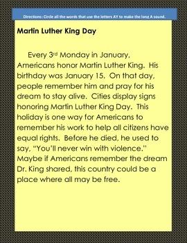 Martin Luther King Vowel Team Word Hunts