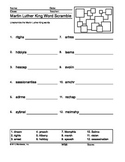 Martin Luther King Word Scramble Printable