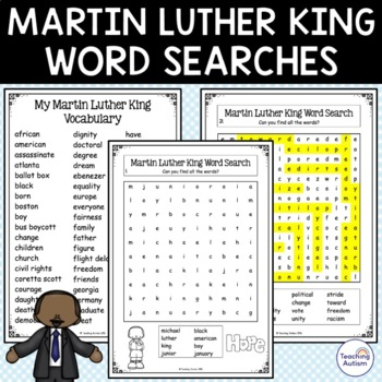 Martin Luther King Word Search MLK