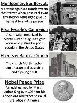 Martin Luther King Word Wall Cards