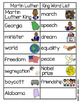 Martin Luther King Word Wall (includes word list and word work pages)