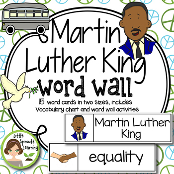Martin Luther King Jr. Word Wall (includes word list and word work pages)