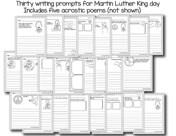 Martin Luther King Writing Prompts includes writer's checklist