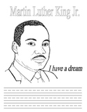 Martin Luther King coloring and writing page