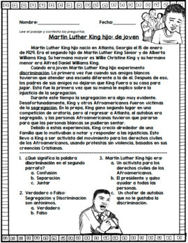 Martin Luther King hijo: Spanish Reading Passage
