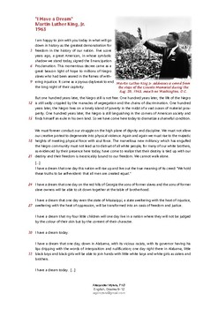"""Martin Luther King's """"I Have a Dream""""  Speech - Analysing Rhetorical Devices"""