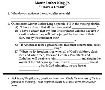 """Martin Luther King's """"I Have a Dream"""" Speech Study"""