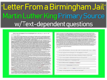 """Martin Luther King's """"Letter from a Birmingham Jail"""" with text-dependent Qs"""