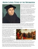Martin Luther Reading and Common Core Worksheet