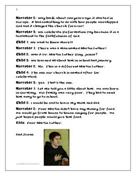 Martin Luther; Reformation Day; Elementary School Skit; Printables
