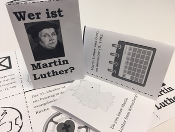 Martin Luther (Reformation) Foldable Mini Book - English and German
