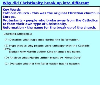 Martin Luther, The Reformation and Catholics/Protestants KS3
