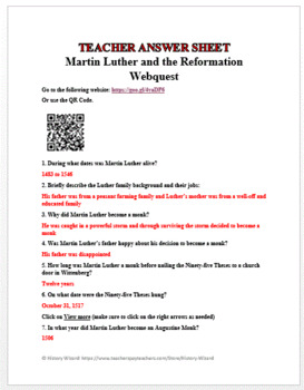 Martin Luther and the Reformation Webquest
