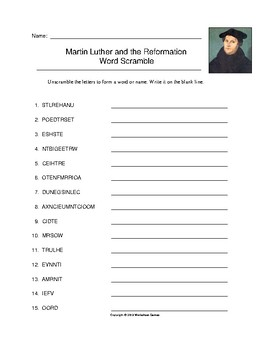 Martin Luther and the Reformation Word Scramble with Key (Grades 9-12)