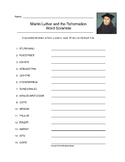 Martin Luther and the Reformation Word Scramble with Key (