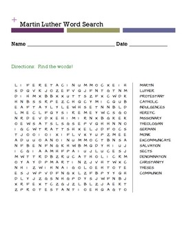 Martin Luther Word Search