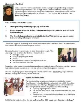 Martin Luther Worksheet