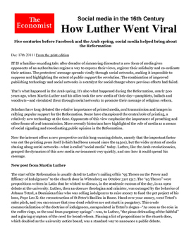 Martin Luther and Social Media during the Reformation
