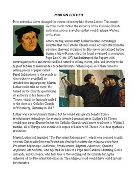 Middle Ages: Martin Luther and the Protestant Reformation