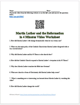 Martin Luther and the Reformation in 4 Minutes Video Worksheet