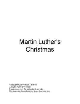 Martin Luther's Christmas a Christmas Pageant