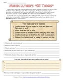 Martin Luther, the Reformation, and Create Your Own 95 Theses Worksheet