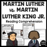 Martin Luther vs. Martin Luther King, Jr. Reading Comprehension , Reformation