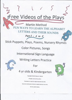 Reading, Martin Method PreK Play 1 Video- Fun Alphabet Learning