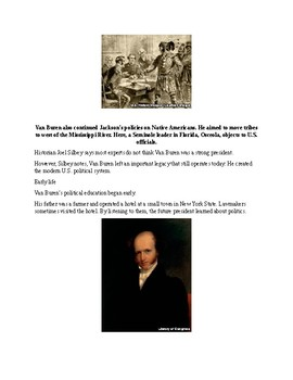 Martin Van Buren - A Short Biography for Kids (with reading quiz)