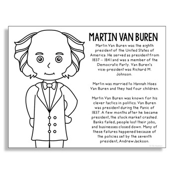 President Martin Van Buren Coloring Page Craft or Poster with Mini Biography