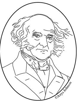 Martin Van Buren (8th President) Clip Art, Coloring Page o