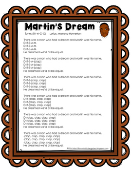 Martin's Dream a Song for Martin Luther King, Jr. Holiday ELA