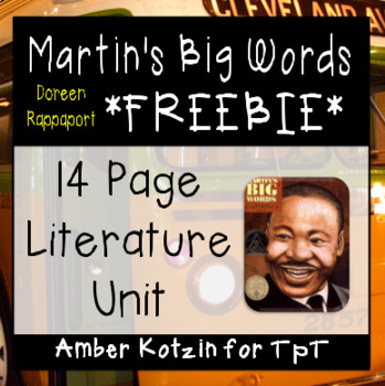 FREEBIE - Martin's Big Words Literature Guide (Common Core Aligned)