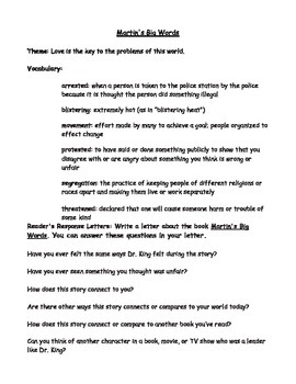Martin's Big Words: Reader's Response Letter for Making Co