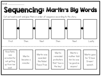 Martin's Big Words - Sequencing Worksheet