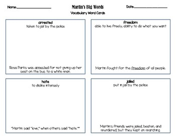 Martin's Big Words  Vocabulary Word Cards