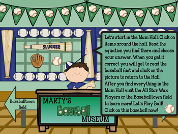 Marty's Baseball Museum- Interactive Musical Math Game