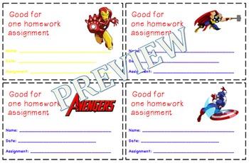 Marvel Avengers Homework Passes