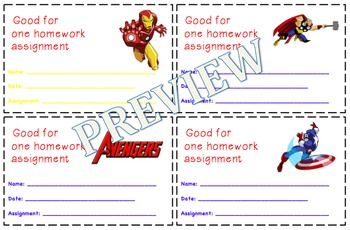 Marvel Avengers Homework Passes