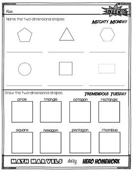 Marvel Math Daily Hero Homework 2nd 9 weeks (weeks 10-18)