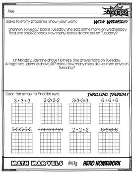 Marvel Math Daily Hero Homework 4th 9 weeks (weeks 28-36)
