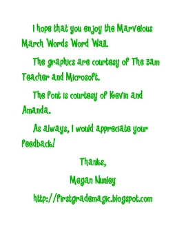 Marvelous March Words
