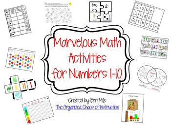 HUGE KINDER BUNDLE-Marvelous Math Activities for Numbers 1-10