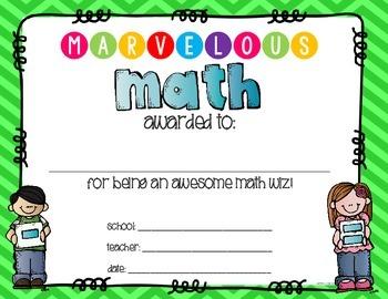 Marvelous Math Award