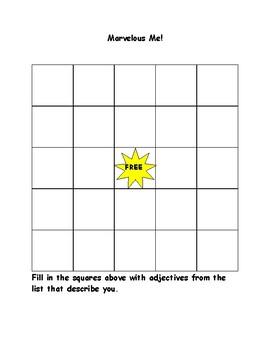 Marvelous Me Bingo