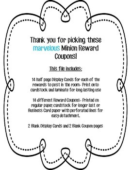 Colorful Minion Reward Coupons